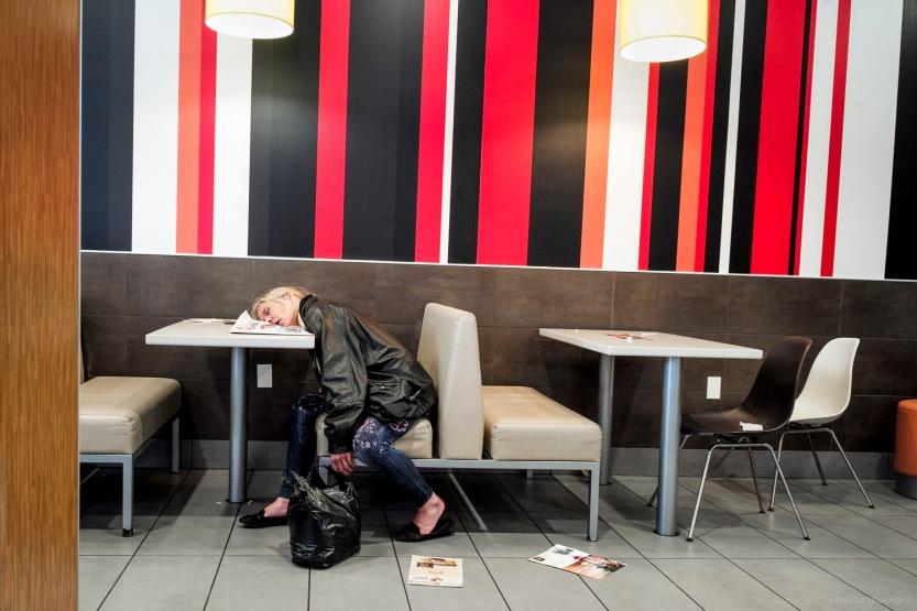 Street Photography Coney Island 2016 - Woman Sleeping At A Resta