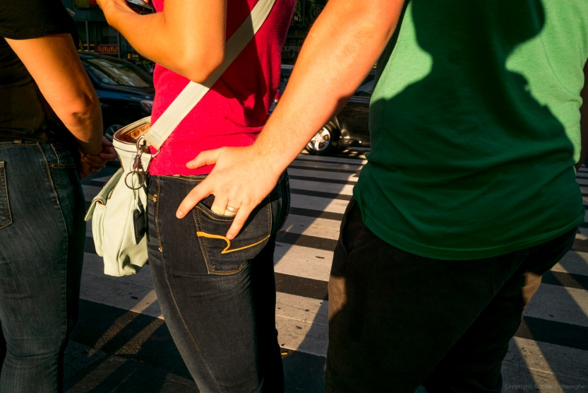 Street Photography Times Square Man Holding Hand In Womans Pocke